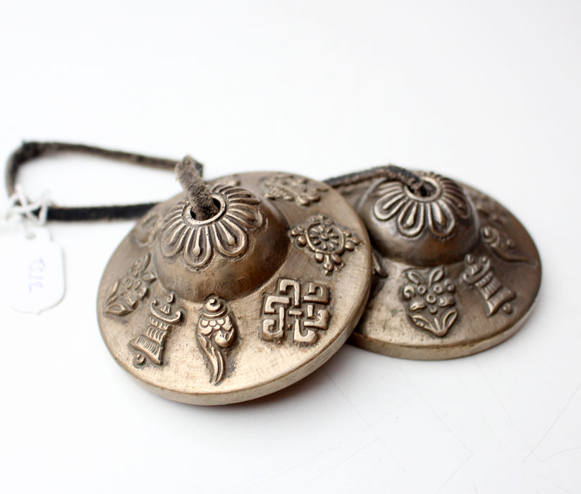 Brass Eight Auspicious Symbol Tingsha Pair - nepacrafts