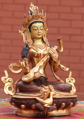 Hindu Goddess Saraswati Partly Gold Plated Statue