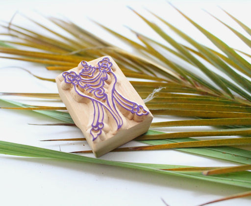 Tibetan Conch Wooden Stamp - nepacrafts