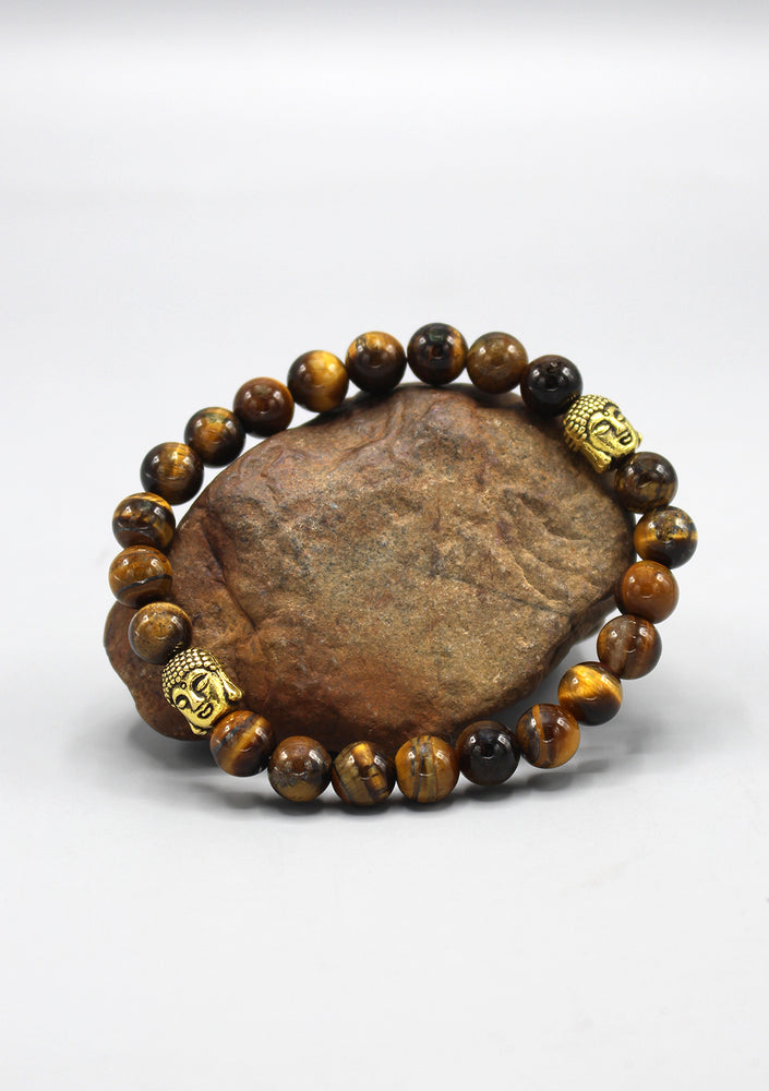 Tigers Eyes Stone Bracelet with Buddha Head Spacer