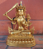 A Fully Gold Plated 13' High Manjushree Statue-Handmade in Nepal - nepacrafts - 1