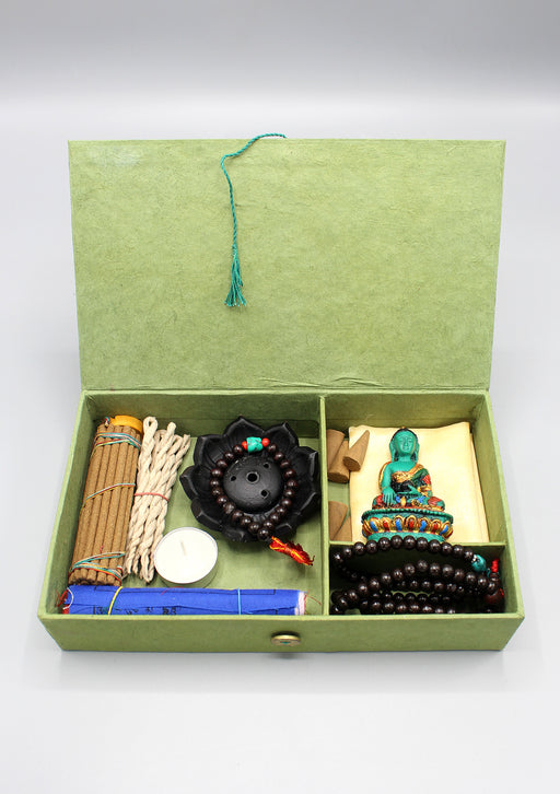 Shakyamuni Buddha Statue, Mala and Incense Buddhist Zen Gift Box