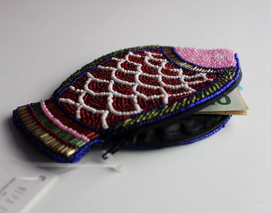 Fish Design Multicolored Glass Beads Coin Pouch - nepacrafts