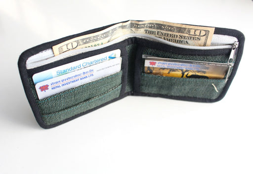 Pure Hemp & Nettle Wallet with Leather Edging - nepacrafts
