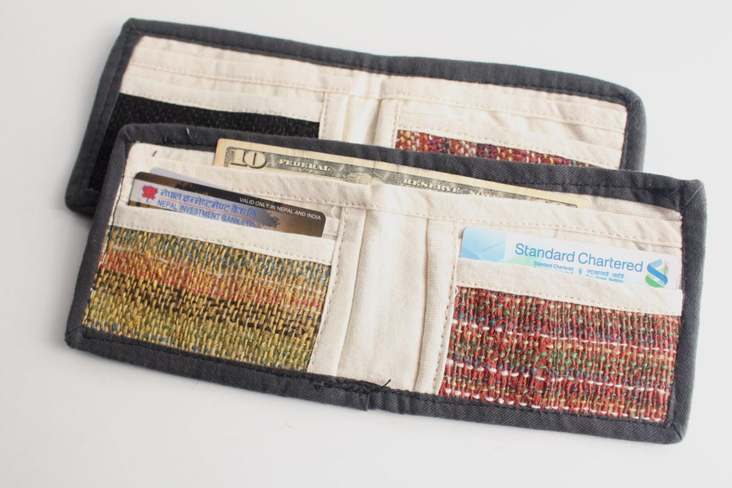 Natural Cotton and Hemp Mixed Bi Fold Wallets - nepacrafts