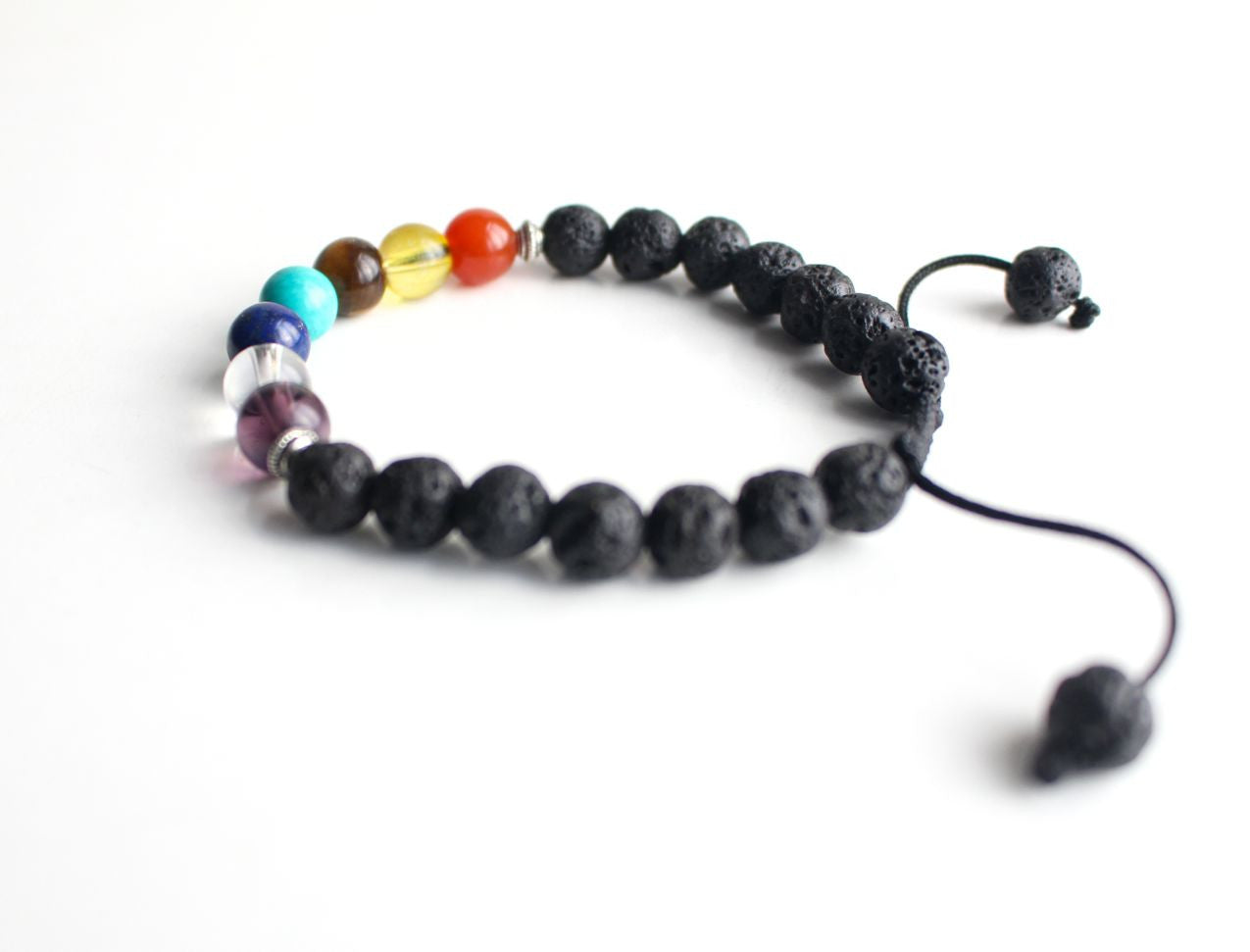 Men's Lava Bracelet with Seven Chakra Stones - nepacrafts