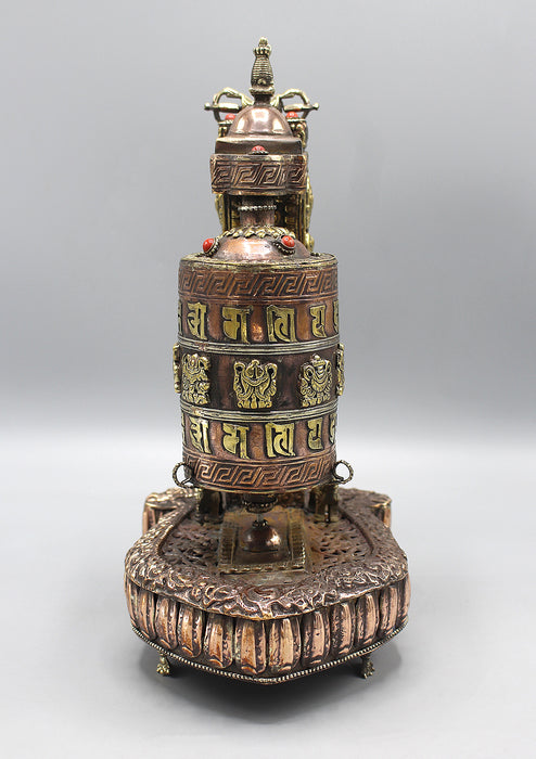 Om Mani Tibetan Prayer Wheel with Kalachakra Frame