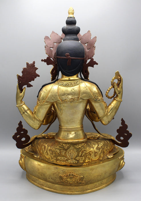 Majestic Gold Plated Masterpiece Chenrezig Statue - nepacrafts