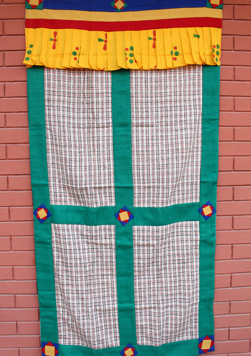 Check Pattern Bhutanese Fabric Door Curtain With Green Velvet Border - nepacrafts