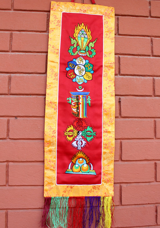 Tibetan Five Symbol Embroidered Polyester Wall Hanging Banner - nepacrafts