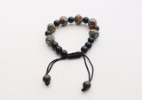 Black Beads Wrist Mala with Octagonal Tibetan Beads