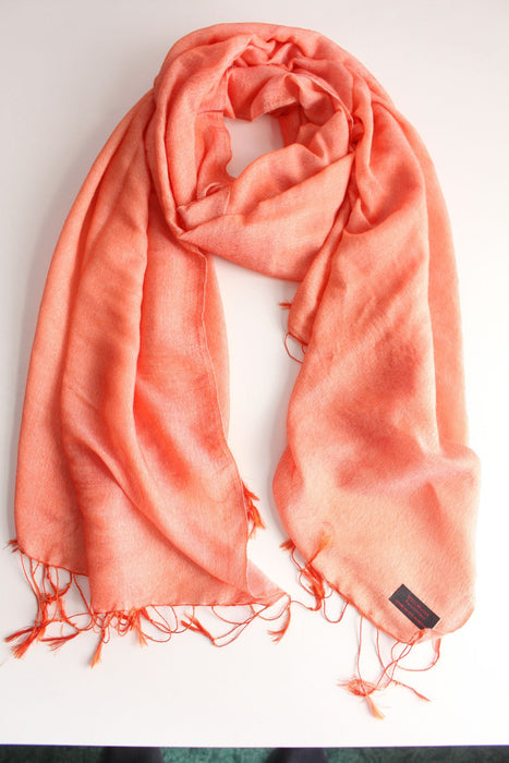 Silky Water Pashmina Stole-Flame Orange - nepacrafts