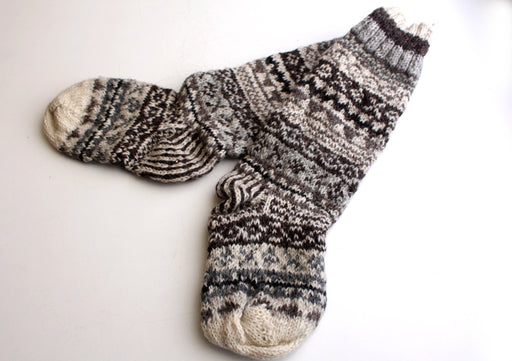 Grey and White Multicolored Pure Woolen Knee High Socks - nepacrafts
