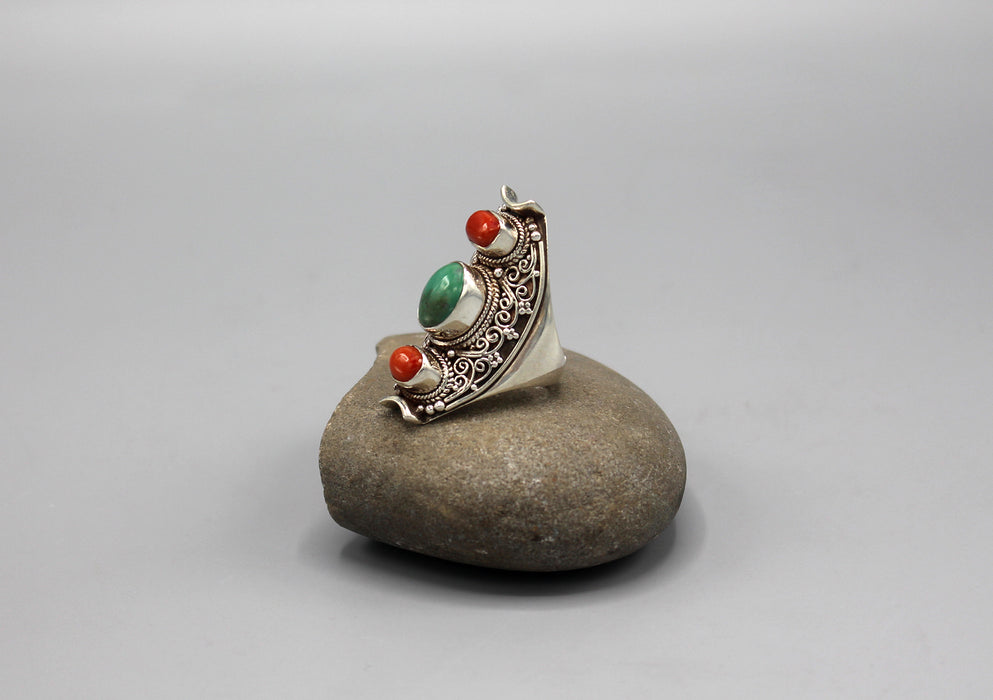 Filigree Design Inlaid Sterling Silver Chunky Finger Ring - nepacrafts