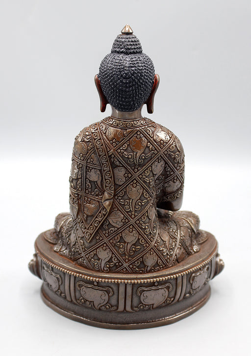 Copper Oxidized Amitabha Buddha Statue with Conch Carved
