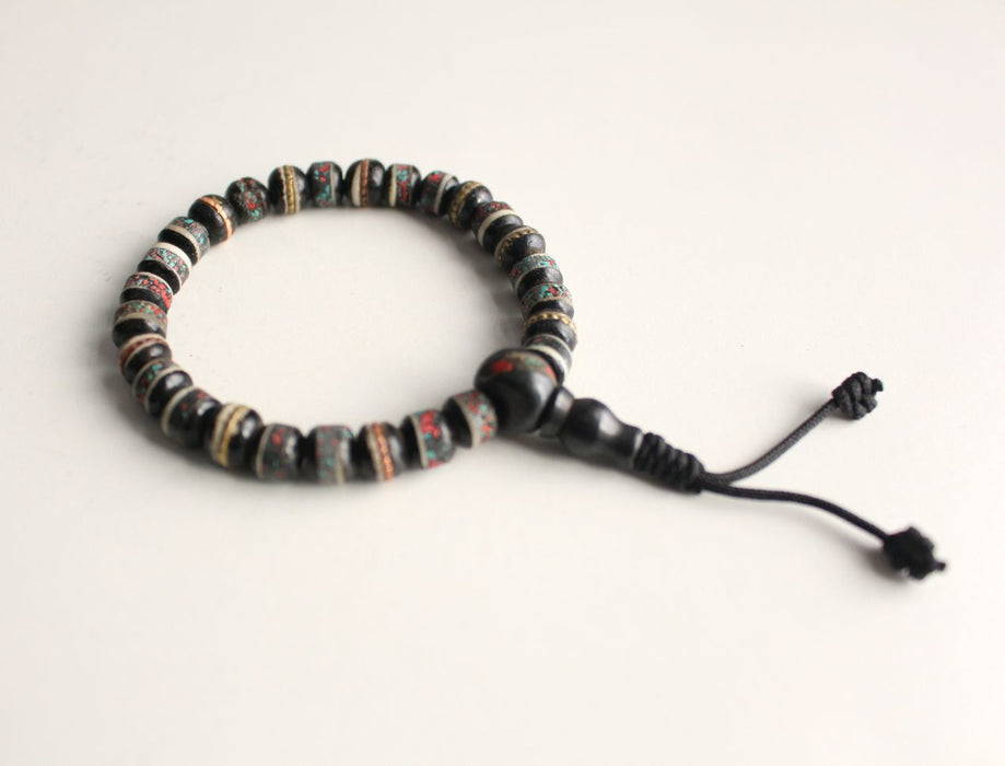 Black Bone Inlaid Wrist Mala - nepacrafts