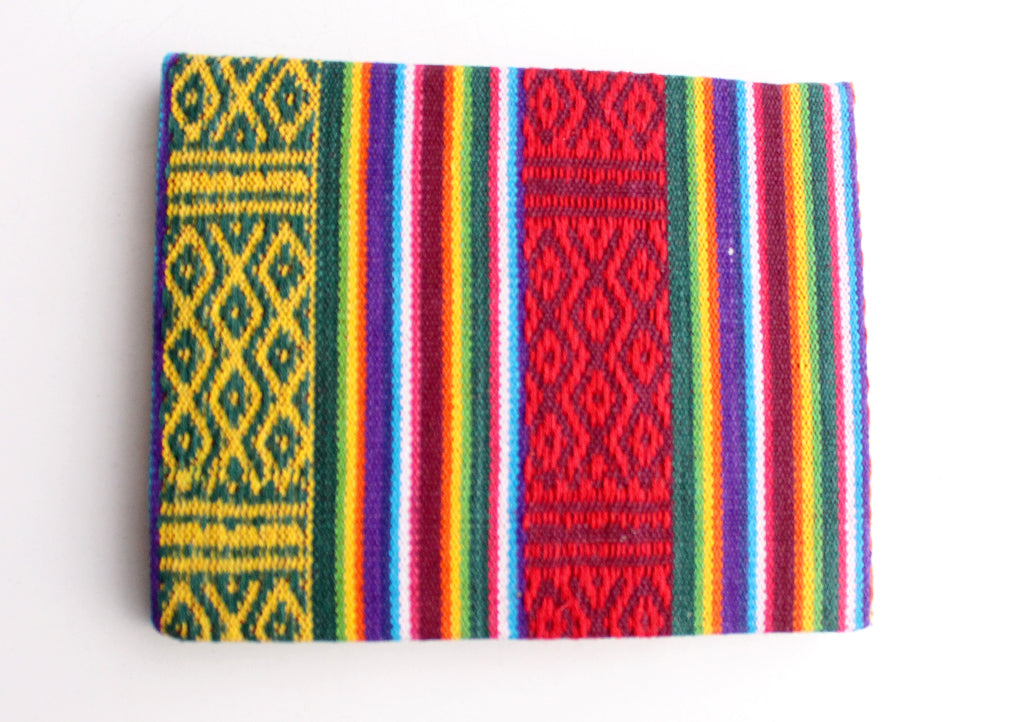 Eco Friendly Lokta Paper Blank Travel Journal with Bhutanese Fabric Hard Cover - nepacrafts