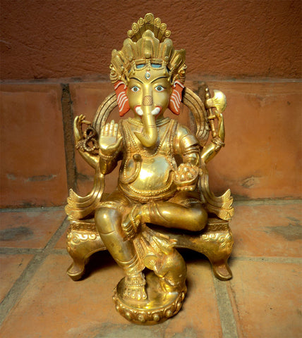Gold Plated Lord Ganesha Statue