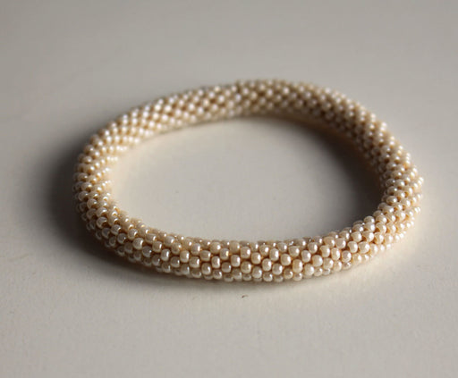 Plain Beige Crocheted Beads Roll On Bracelet - nepacrafts