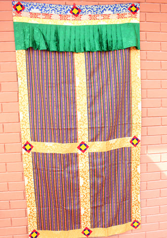 Silk Border Patchwork Bhutanese Fabric Door/ Wall Hanging Curtain