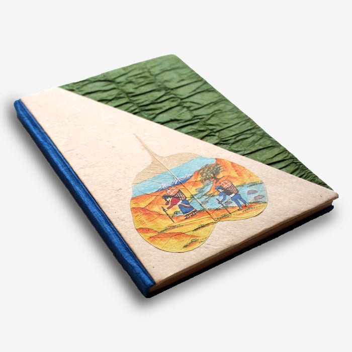 Porter's Life Handpainted Bodhi Leaf Lokta Paper Journal - nepacrafts