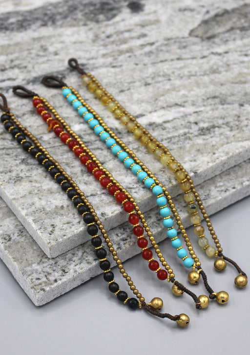Trendy Glass Beads and Brass Bell Anklet - nepacrafts
