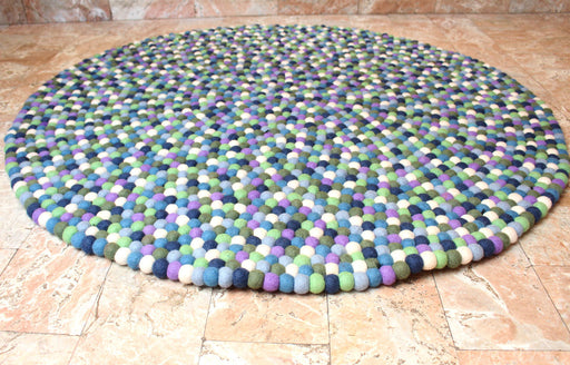 Blue Berry Felt Ball 120 cm round Area Rug - nepacrafts