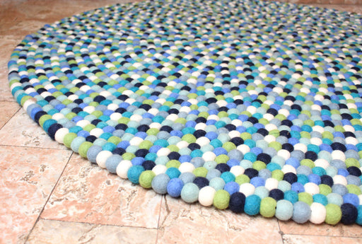 Blue Berry Felt Ball 140 cm round Area Rug - nepacrafts