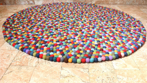 Felt Ball Multicolor Blue Color 140 cm Area Rug - nepacrafts