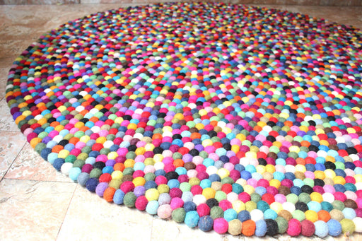 Felt Ball Rug Black Red Multicolor Area Rugs 150 cm - nepacrafts