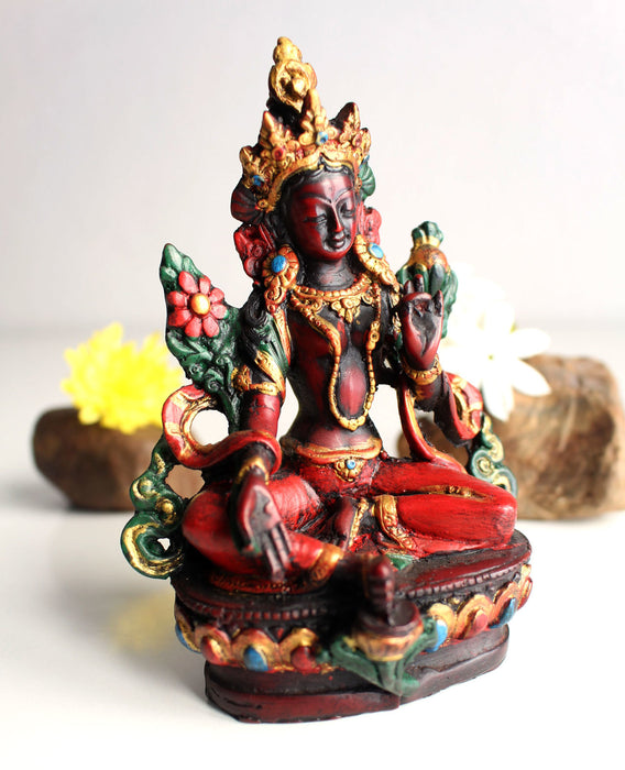 "Resin Statue of Green Tara with Reddish Patina 5"" high - nepacrafts"