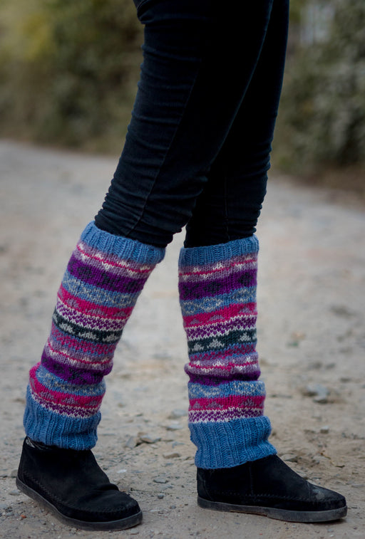 Light Blue Multicolored Pure Woolen Leg warmers - nepacrafts