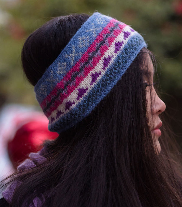 Light Blue Multicolored Pure Woolen Head Band - nepacrafts