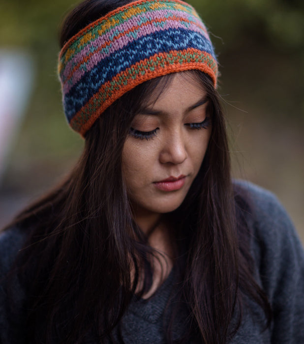 Orange Multicolored Winter Sherpa Woolen Head Band - nepacrafts