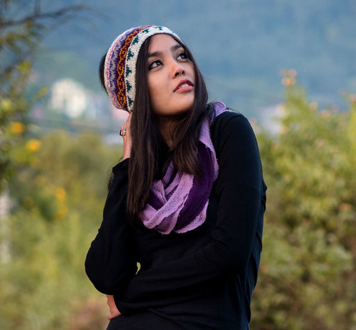 White Pink Multicolor Winter Sherpa Head Band - nepacrafts