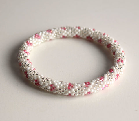 White Silver and Pink Crocheted Beads Roll On Bracelet
