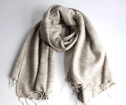 Plain Yak Wool Shawl Cream - nepacrafts