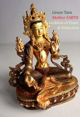 "Partly Gold Plated Green Tara Statue 6"" SSST320"