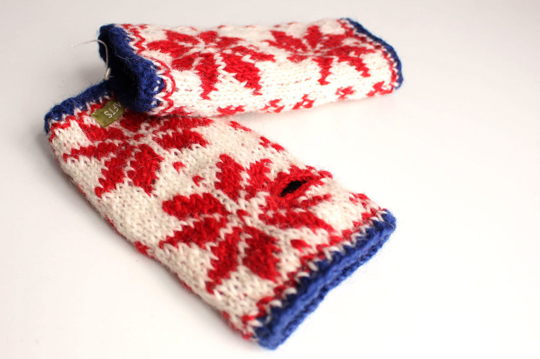 Snow Flake Pattern Woolen Hand Warmers-Texting Gloves - nepacrafts
