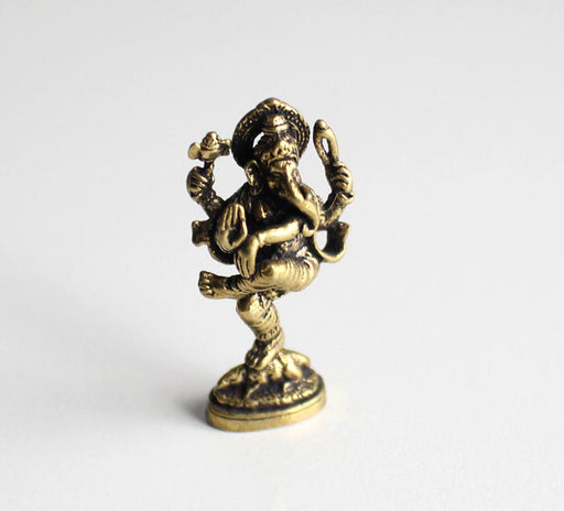 Dancing Ganesha Mini Brass Statue - nepacrafts