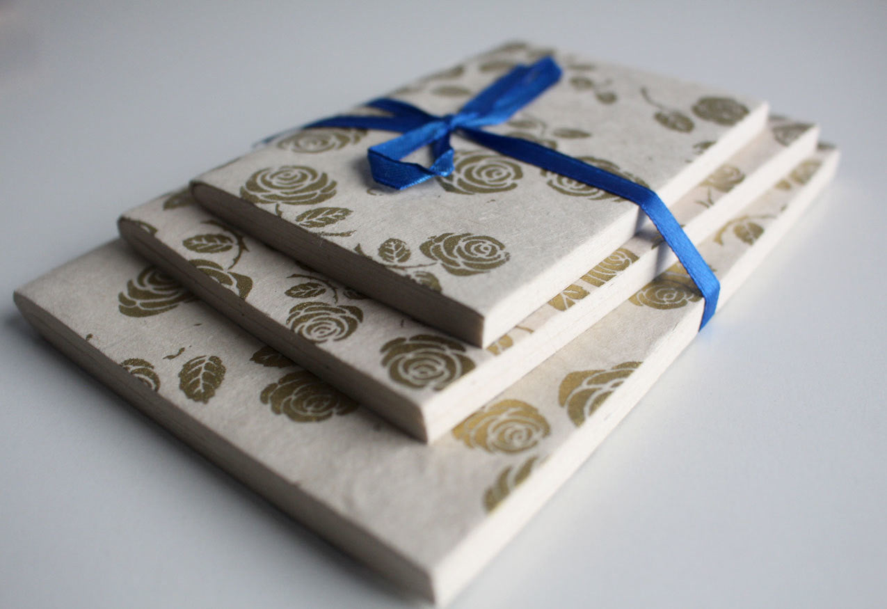 Golden Rose Lokta Paper Journal Books Gift Set - nepacrafts