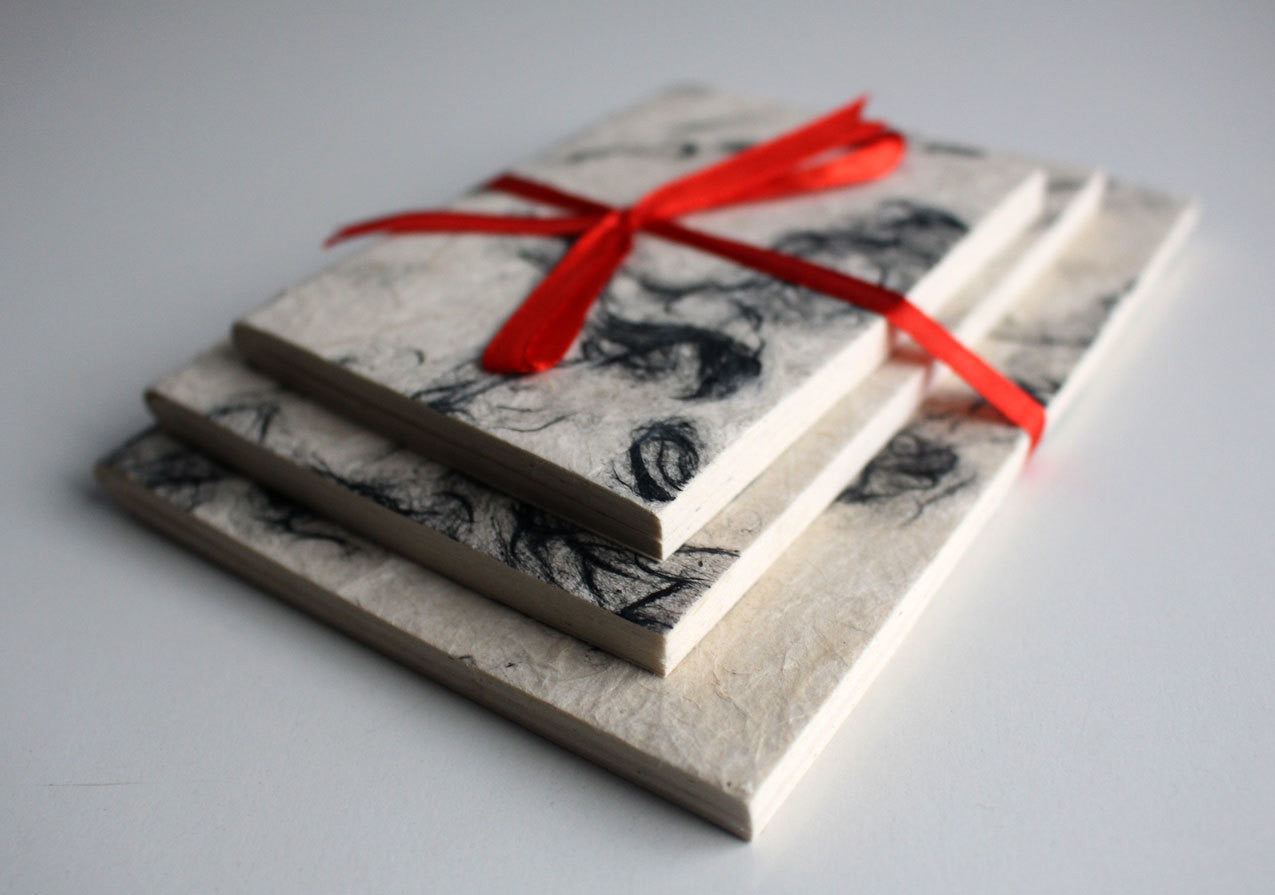 Black Patched Lokta Paper Journal Gift Set - nepacrafts