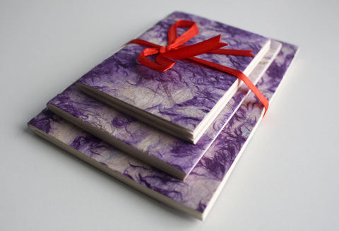 Purple Patched Lokta Paper Journal Gift Set