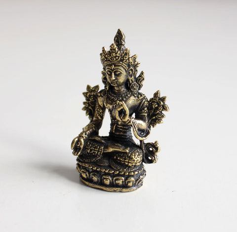"Tiny White Tara Brass Statue 2"" - NepaCrafts"