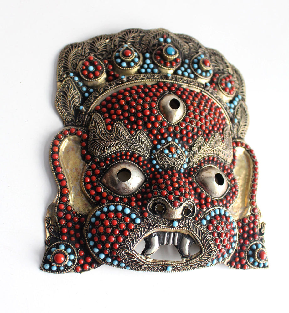 HandCrafted Brass Mahakala Mask Wall Hanging - nepacrafts