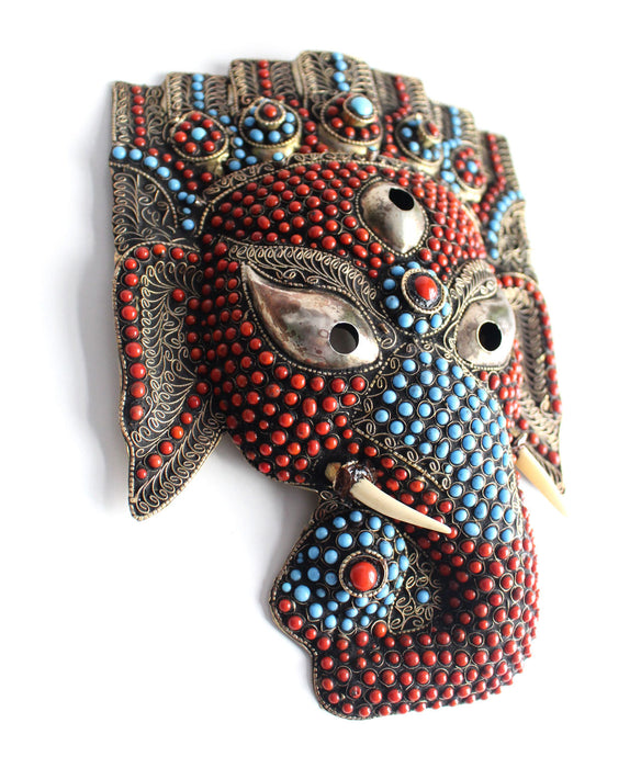 Hand Crafted Ganesha Mask Wall Hanging - nepacrafts