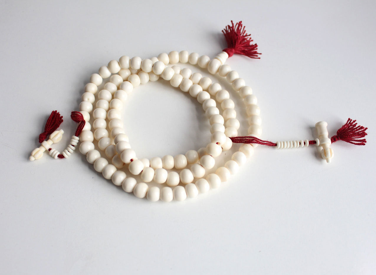 10mm White Bone Prayer Mala with Bell and Dorje Counter - nepacrafts