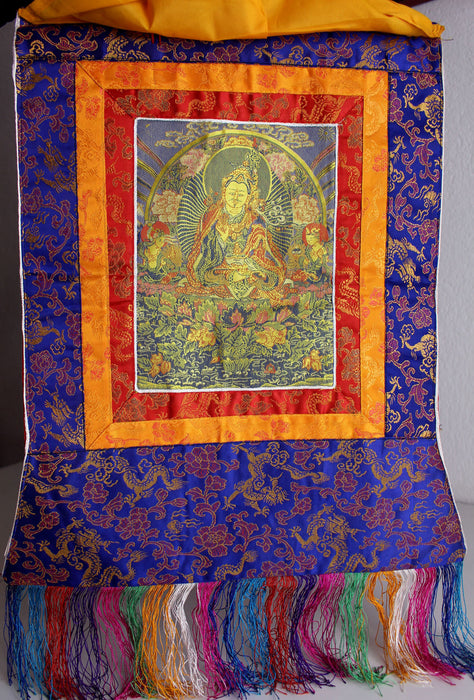 Guru Padmasambhava Embroidered Silk Brocade Fabric Thangka - nepacrafts