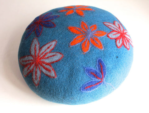 Dark Blue Round Soft Flower Felt Cushion
