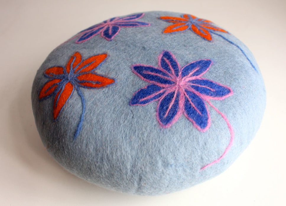 Grey Round Soft Flower Felt Cushion - nepacrafts
